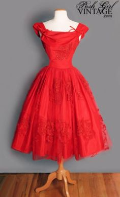 1950's Red Tulle Tea Length Princess Dress