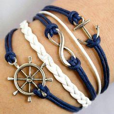 nautic bracelet, anchors, fashion, cloth, style, bracelets, accessori, anchor bracelet, jewelri