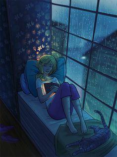 reading in the rain...