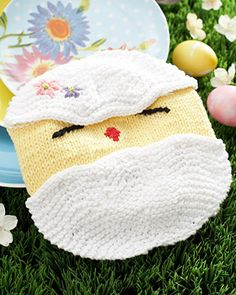 Lily Sugar'n Cream - Easter Chick Dishcloth (free knitting pattern)