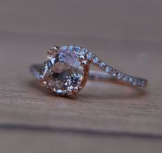 morganite- peach champagne rose gold diamond ring.