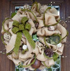 Natural Jute Burlap and Moss Ribbon Wreath