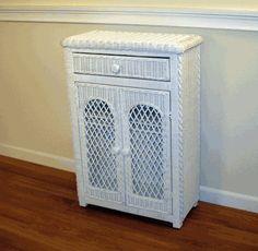 White Wicker Cabinet via @wickerparadise #pretty #white #wicker #bathroom www.wickerparadise.com