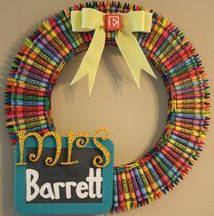 Crayon wreath for classroom door.