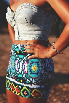 Bustier and printed skirt. Cute idea! I'd switch it up a bit to make more appropriate for myself but this is cute!
