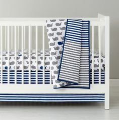 Baby Boy Nursery Bedding - Whales!   The stripes are a great addition too.