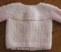 ABC Knitting Patterns - Round Yoke Top Down Seamless Baby Cardigan .