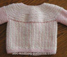 ABC Knitting Patterns - Round Yoke Top Down Seamless Baby Cardigan .