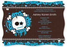 Cool idea is to send out your skull baby shower invites and let your guests know you are having a rockin party.  Add more fun and ask your guests to come dressed as their favorite rock star.  http://www.modern-baby-shower-ideas.com/rock-star-baby-shower.html  Use coupon code: Modern11 and save 11% #rockstarboybabyshower