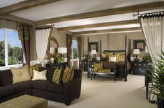 Large bedroom with integrated color scheme of earth tones