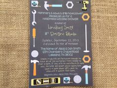 PRINTED or DIGITAL Tools Home Wedding Shower Invitations 5x7 Customized Tools Handy Man Invites Design 0.82 each