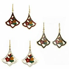 Cloisonne Flower Earrings w/Hypoallergenic Backings $5.99