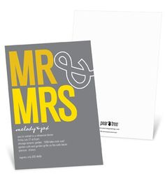 "Casual Rehearsal Dinner Invitations -- ""To The Mr. & Mrs."" in Yellow"