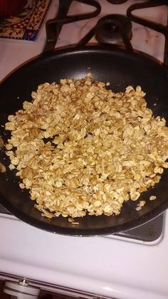 Non stick spray... 1/2c old fashioned oats, two cap fulls vanilla, cinnamon to taste, sea salt to taste, 4 packets of truvia... Brown in pan... Serve with unsweetened almond milk....... DELICIOUS GRANOLA!!! (Melanie Marie Rachwitz FB)