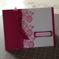 Card Stock: Rose Red, Whisper White / Ink: Rose Red / Cool Tools: Modern Label Punch, Word Window Punch / Stamps: Teeny Tiny Wishes, Fresh Vintage / Embellishments: Rhinestones, Dazzling Diamonds Glitter, Rose Red Seam Binding Ribbon