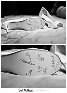 Wedding Traditions from Around the World - Bridesmaids sign the bride's shoes.