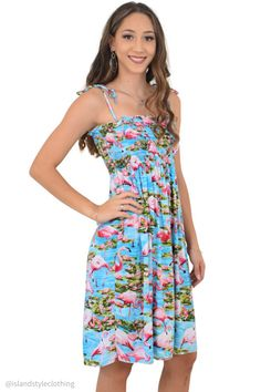 Ladies Pink Flamingo Tube Dress. Beautiful dress for for Luau Turquoise Blue Cruise, Beach Party or Casual wear #luaudress #partydress #cruisedress #hawaiiandress #floraldress #islanddress #flamingodress #flamingoparty #tubedress #springbreak #cruisewear #cruise #springbreak #honeymoon #vacation #hens #bachelorette