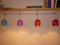 HOW TO make DIY Pac Man ghosts hanging string lights. WAKA WAKA love them nerdy light crafts.