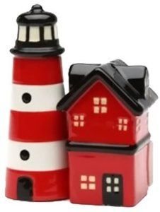 "Lighthouse Magnetic Ceremic Salt and Pepper Shakers by Attractives. $10.95. Ceremic. 4"" tall. Brand new - gift boxed. Collectible high quality ceremic S&P shaker"