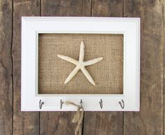 Key Holder - Key Hook Necklace Holder  Beach Decor Starfish 5 Silver Hooks - House warming gift