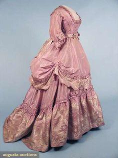 ~Pale lilac silk taffeta reception gown with silk brocade flounces (front), c. 1870~