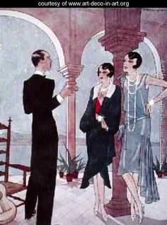 Evening in Buenos Aires on the Rio de la Plata Coast fashion plate from Femina magazine - Pierre Mourgue - www.art-deco-in-art.org
