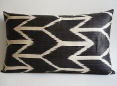 Hand Woven Silk ikat Pillow Cover Dark by sukan
