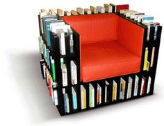 A combination of bookshelf and sofa chair...interesting...