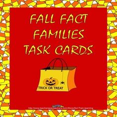 These are fun candy corn fact family cards that have an answer key if you want your students to check themselves. $ #math#fact families#education#teaching#task cards#Fall#learning