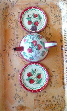 Vintage Tin Childrens Tea Kettle Plates by VintageReinvented,