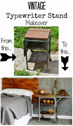 Typewriter Stand Gets an Industrial Rustic Makeover - Before and After ~~via Knick of Time @ knickoftimeinteriors.blogspot.com