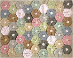 """Inspiration :: Soft muted colors in these pretty hexes by Coco Rose.  Pattern from Japanese book  """"Pretty Colour Crochet and Knit Goods"""".   #crochet #hexagon #afghan #blanket #throw"""