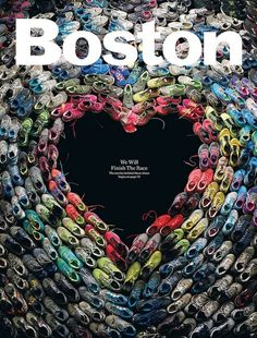 Though we've seen some touching art tributes come out after the tragic Boston bombings, this is one of the most inspiring. The May cover of Boston Magazine shows a heart created from the shoes of the Boston Marathon runners. Photographer Mitchell Feinberg took this sure to be iconic photo of actual shoes worn during the marathon assembled so that the negative space is in the shape of a heart.
