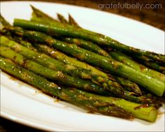 glazed asparagus. the recipe is for roasted asparagus, but I've had this sauce on grilled asparagus, too. hands down the best seasoning for asparagus!