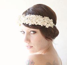 Bridal hair crown, Flower crown, Wedding head piece, Ivory floral head piece - OLEANDER. $150.00, via Etsy.
