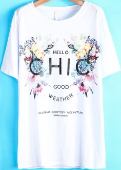 White Short Sleeve Floral CHIC Print T-Shirt 17.67