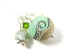 Ocean Necklace Beach Necklace Green  White by GlassRiverJewelry, $38.00