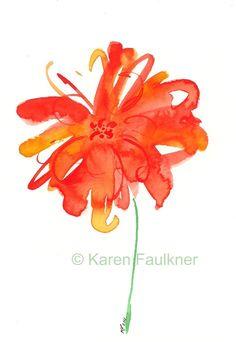 Orange Watercolor Flower, Art Print: Splash of Summer. $15.00, via Etsy.