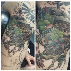 How's moving castle tattoo (unfinished) -  u/AngryFudge