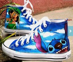Stitch anime Custom Canvas, Lilo and Stitch hand painted shoes, high top Shoes.