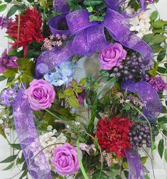 Large Spring and Summer Door Wreath with Deco Mesh Bow by LadybugWreaths, $229.97
