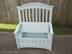 Repurpose an old crib! Turn a crib into a darling bench toy box!