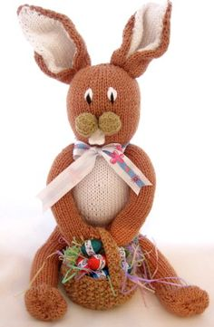 Knitted Long Legged Easter Bunny by CraftBits; one of several large knit bunny patterns available