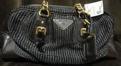Prada Designer Handbag - Black Baluetto Style #BL0351, woven style with black/gold chain double straps, zip top, gold hardware.     Comes with original box & dust cover.    Original Retail : $1390.00  Our Price : $895.00