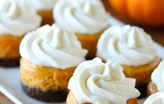 Brit + Co, mini pumpkin cheesecakes with ginger snap crust.