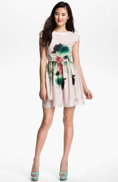 Jessica Simpson Layered Print Fit & Flare Dress available at Nordstrom