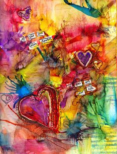 "Bright and beautiful collage of hearts: ""As the sun colors flowers, so does art color life."" art color, color art, color palettes, art journals, mixed media, collag, mix media, sun color, bright colors"