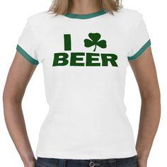 I Shamrock Beer Tshirts #stpatricksday #stpattys #stpattysday #irish #green #shamrock #zazzle #funnytshirts #beer #greenbeer #sweepstakes