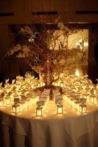 Wedding - Ideas. Table seating lanterns escort cards, wedding ideas, dinner time, wedding places, favor, wedding place cards, light, lanterns, winter weddings