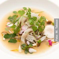 Consommé di funghi profumato alle erbe dell'orto e della foresta. Chef Alex Atala  http://www.identitagolose.it/sito/it/ricette.php?id_cat=12&id_art=1415&nv_portata=25&nv_chef=&nv_chefid=&nv_congresso=